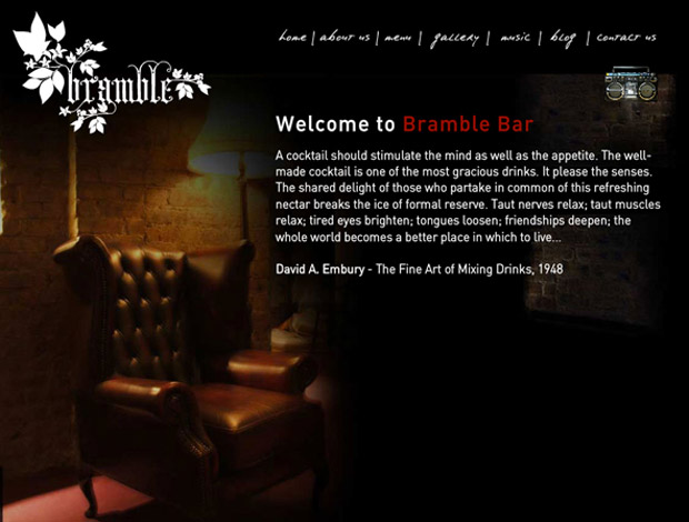 Bramble Bar now has the coolest site...